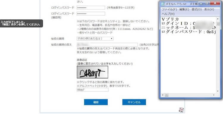 Vプリカ公式サイトの本登録確認画面の写真