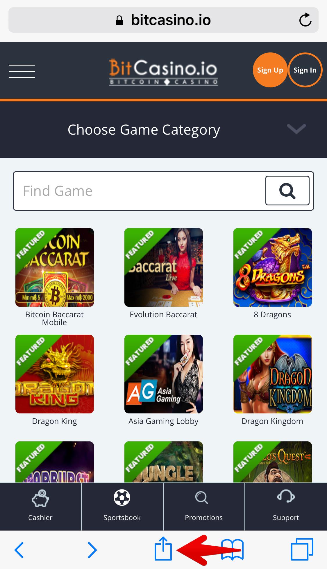ビットカジノアイオースマートフォン版サイト画面