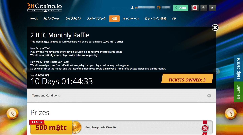 ビットカジノアイオー抽選会の画面の写真