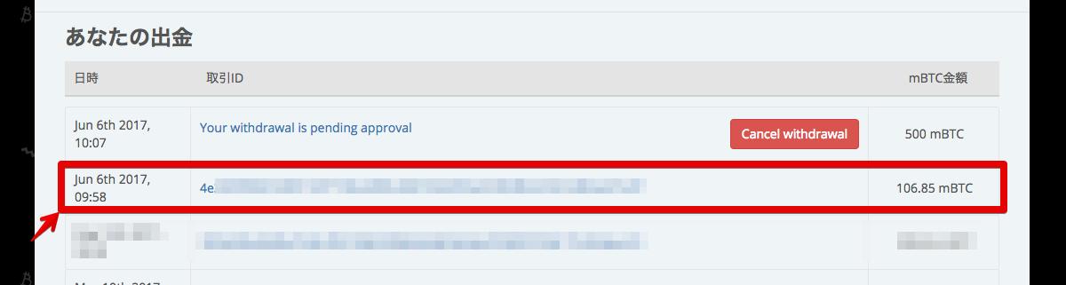 ビットカジノアイオーのビットコイン送信履歴画面の写真