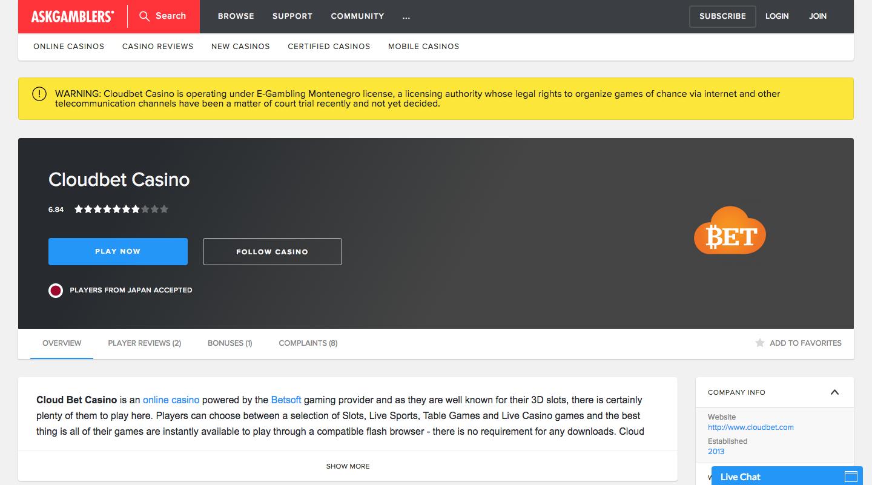 クラウドベットオンラインカジノレビュー評価画面の写真