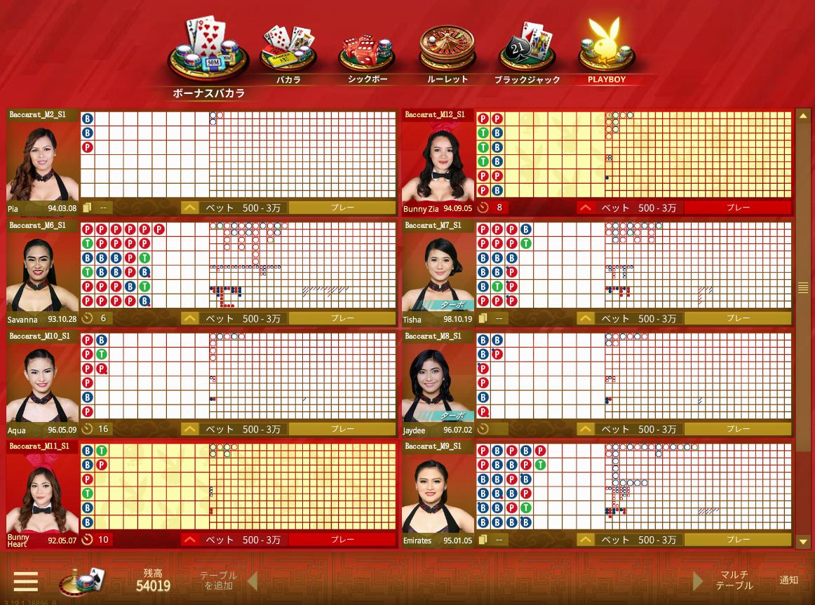 マイクロゲーミングライブゲーム選択画面の写真