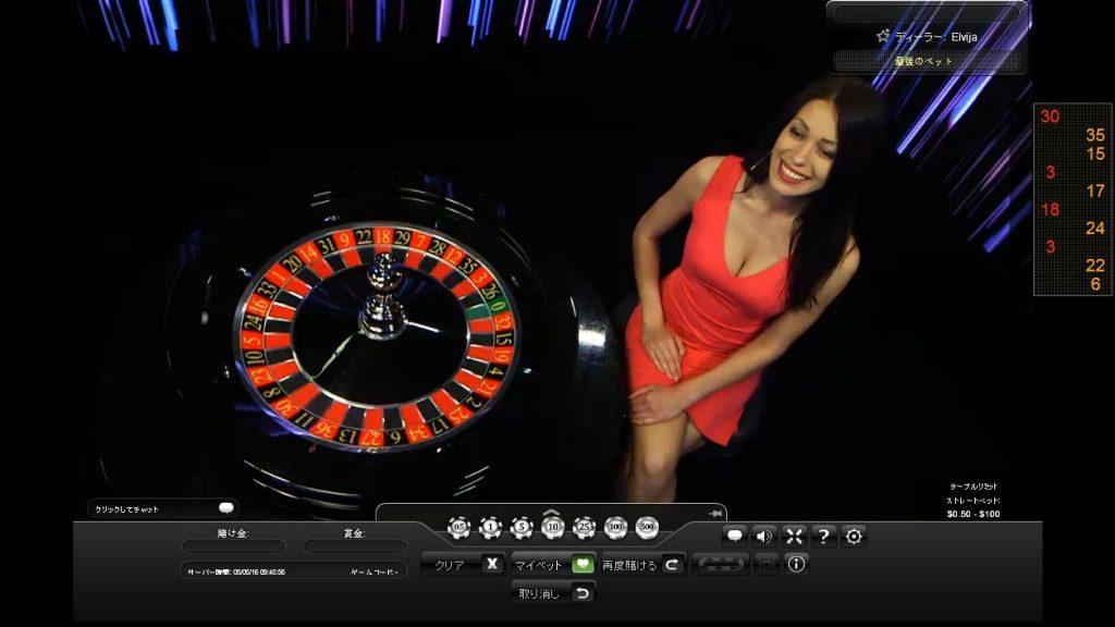 オンラインカジノW88カジノのライブルーレットの画面