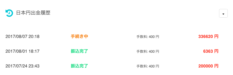コインチェックから合計で336,620円の日本円の引き出し画面